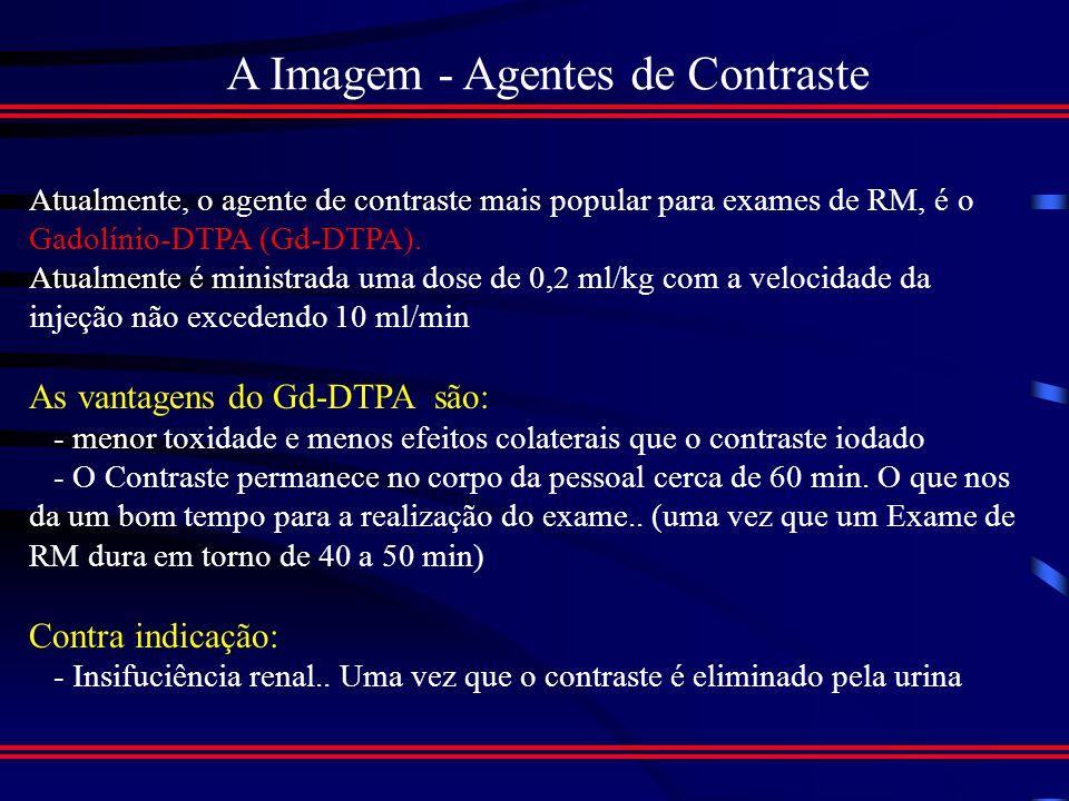 A Imagem - Parâmetros da Imagem Imagem Transversal com contraste por T1 Imagem Transversal com contraste por T2
