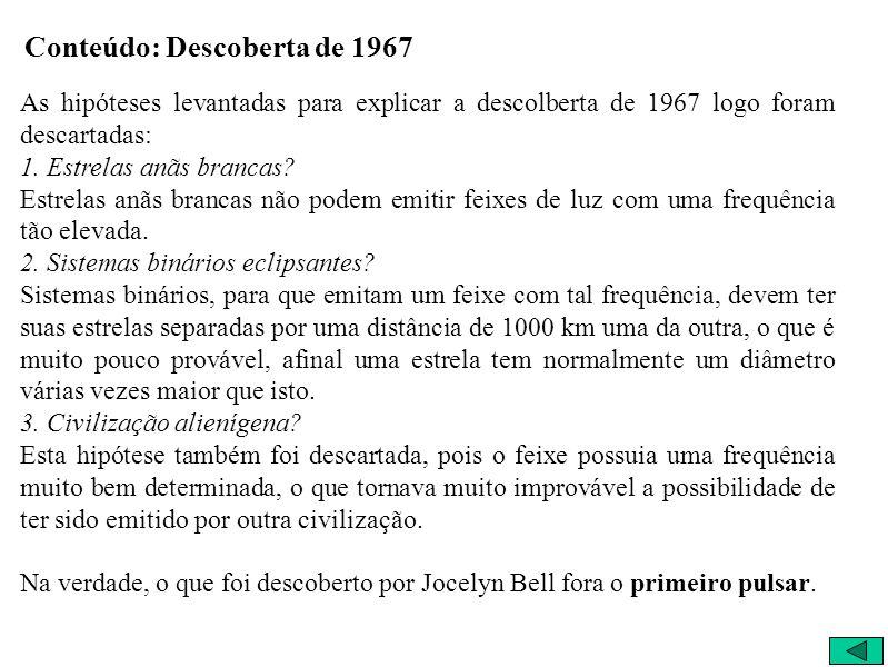 Conteúdo: Descoberta de 1967 As hipóteses levantadas para explicar a descolberta de 1967 logo foram descartadas: 1. Estrelas anãs brancas? Estrelas an
