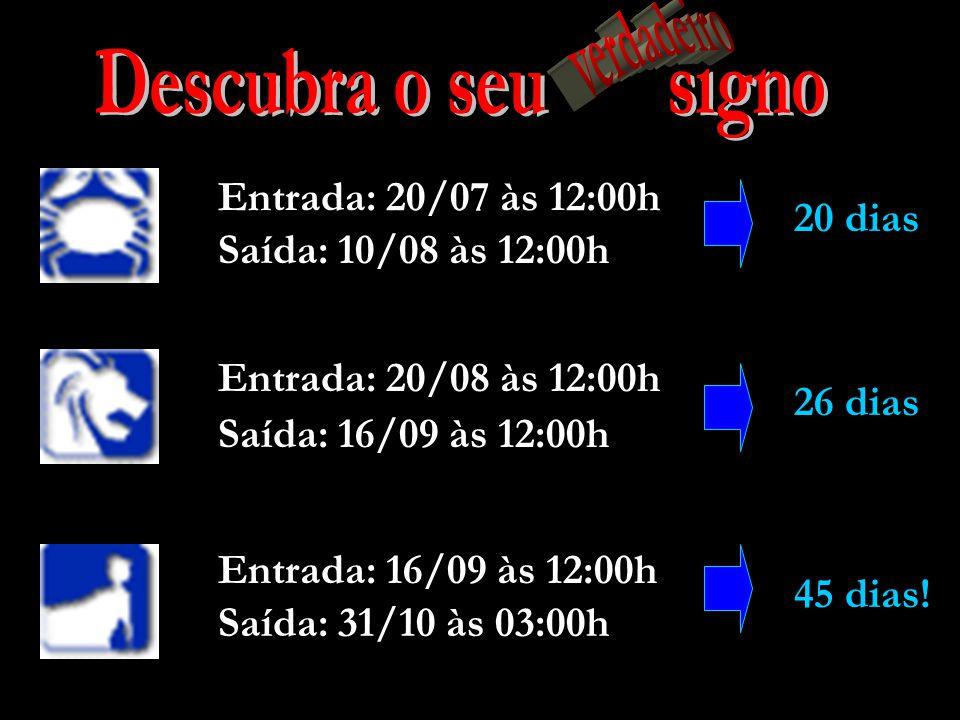 Entrada: 18/04 às 11:00h Saída: 13/05 às 20:00h 25 dias Entrada: 13/05 às 20:00h Saída: 21/06 às 00:00h 38 dias Saída: 20/07 às 12:00h Entrada: 21/06 às 00:00h 29 dias