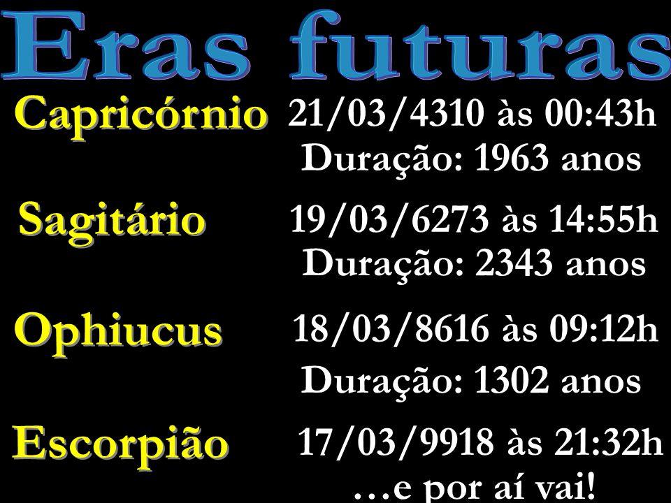 Gêmeos Antes de 4547 a.C.26/04/4547 a.C.às 12:42h Touro Duração: 2683 anos Áries 06/04/1864 a.C.