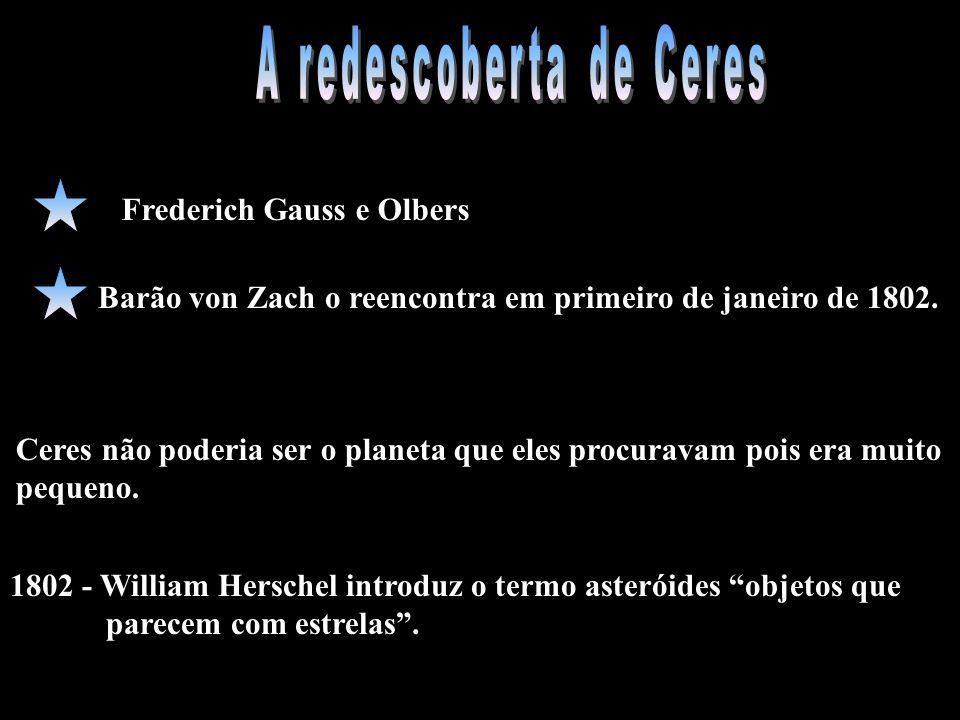 Frederich Gauss e Olbers Barão von Zach o reencontra em primeiro de janeiro de 1802. 1802 - William Herschel introduz o termo asteróides objetos que p