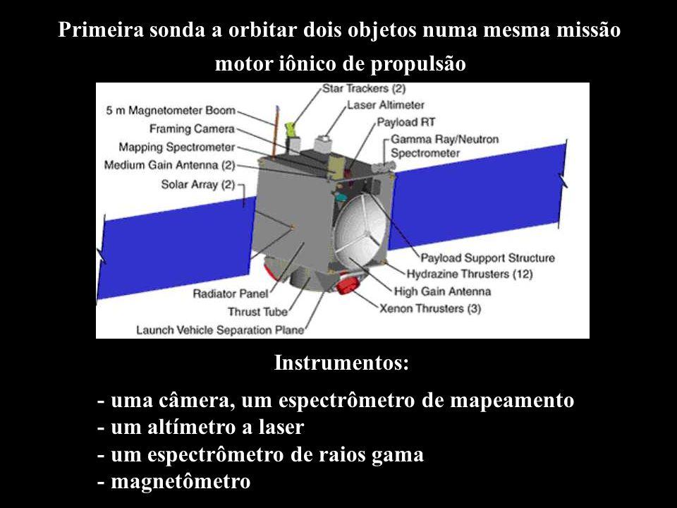 Primeira sonda a orbitar dois objetos numa mesma missão Instrumentos: - uma câmera, um espectrômetro de mapeamento - um altímetro a laser - um espectrômetro de raios gama - magnetômetro motor iônico de propulsão