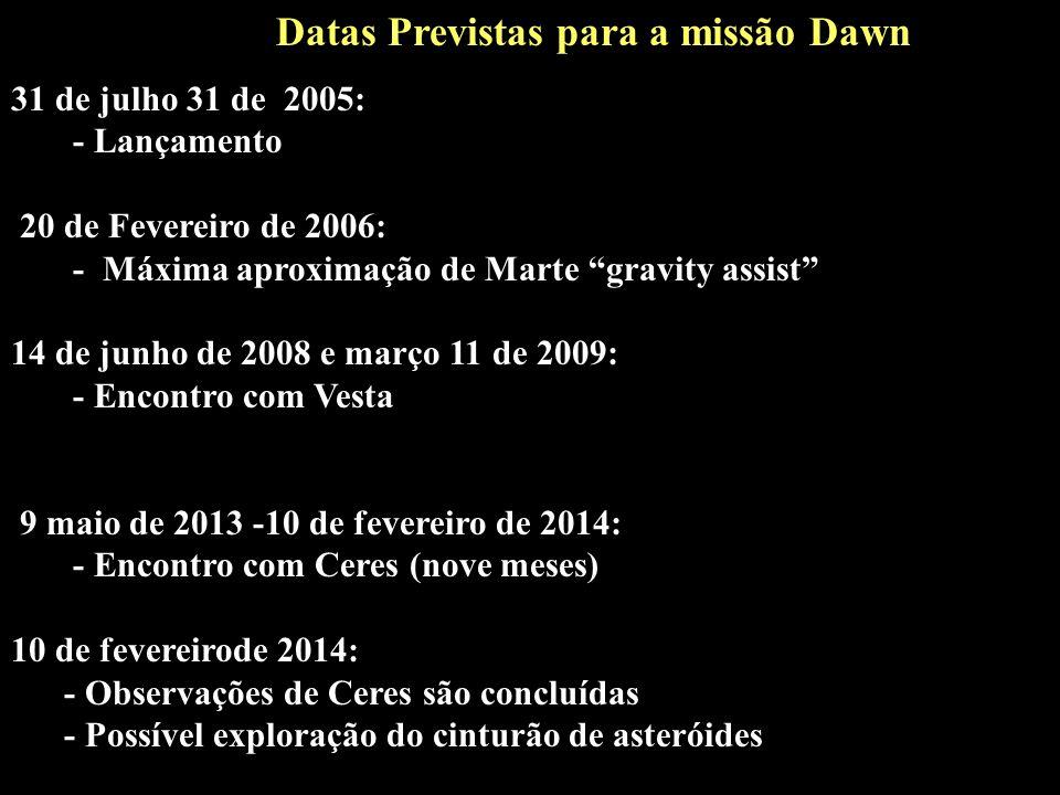 31 de julho 31 de 2005: - Lançamento 20 de Fevereiro de 2006: - Máxima aproximação de Marte gravity assist 14 de junho de 2008 e março 11 de 2009: - E