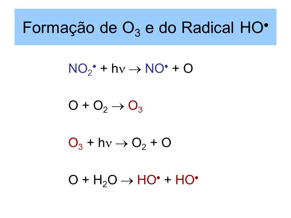 Formação de O 3 e do Radical HO NO 2 + h NO + O O + O 2 O 3 O 3 + h O 2 + O O + H 2 O HO + HO