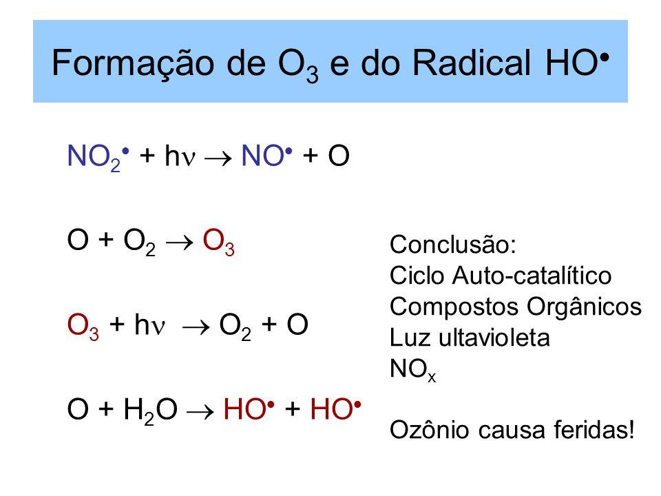 Formação de O 3 e do Radical HO NO 2 + h NO + O O + O 2 O 3 O 3 + h O 2 + O O + H 2 O HO + HO Conclusão: Ciclo Auto-catalítico Compostos Orgânicos Luz