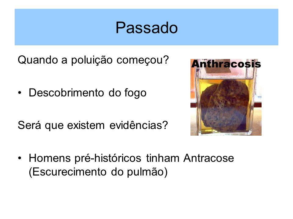 Passado Quando a poluição começou? Descobrimento do fogo Será que existem evidências? Homens pré-históricos tinham Antracose (Escurecimento do pulmão)