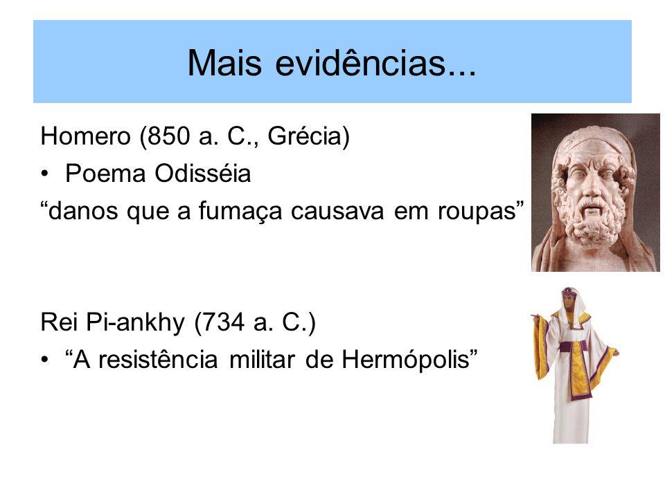 Mais evidências... Homero (850 a. C., Grécia) Poema Odisséia danos que a fumaça causava em roupas Rei Pi-ankhy (734 a. C.) A resistência militar de He