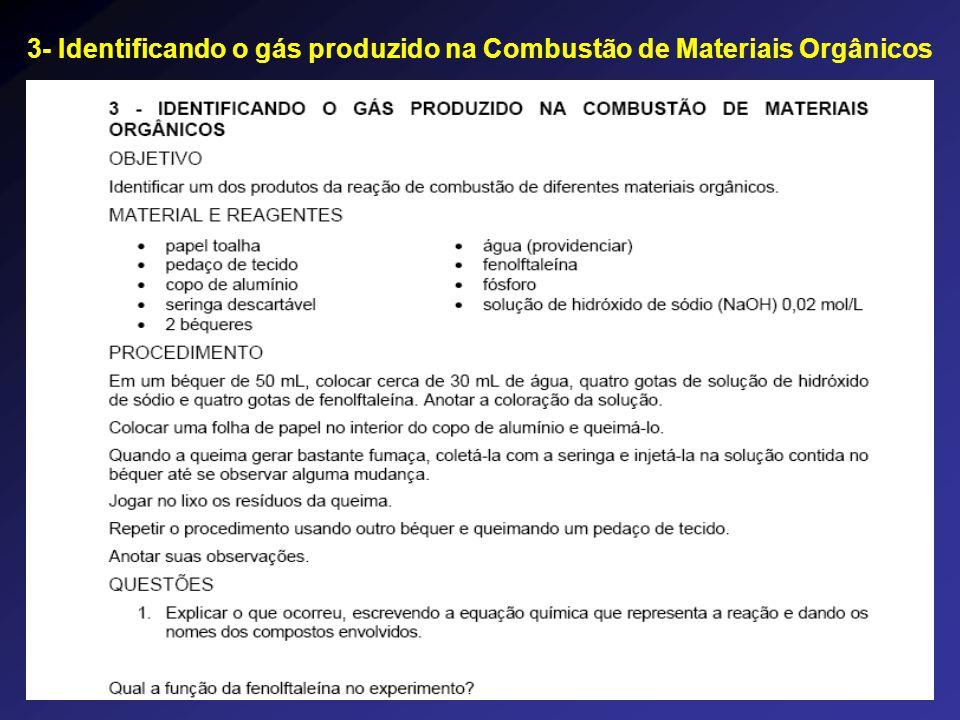 3- Identificando o gás produzido na Combustão de Materiais Orgânicos