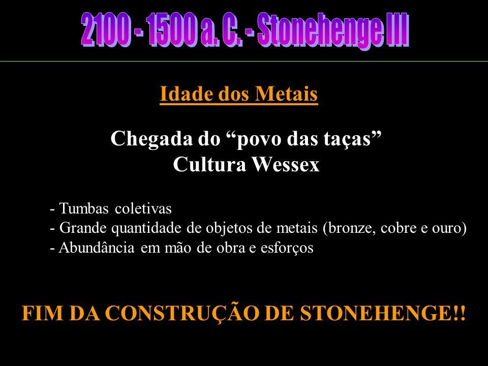 Fusão das Culturas Neolítico secundário - Nômades - Utilização de alguns metais - Construção de henges Construção da Avenida e dos Círculos das Pedras Azuis (abandonado)
