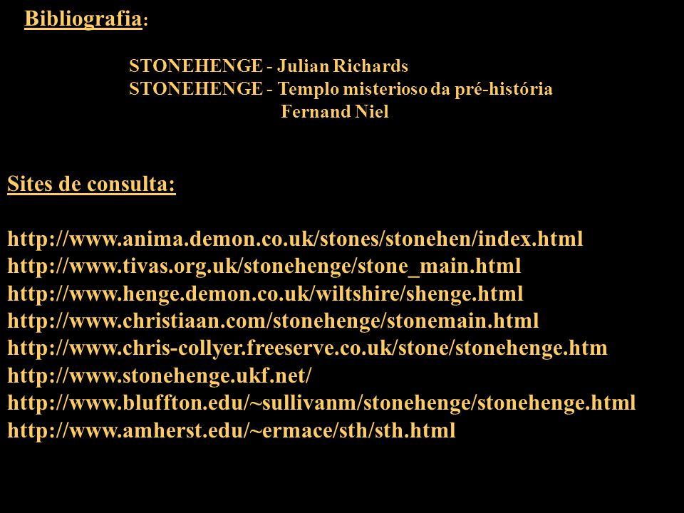Imagens: sites e livros relacionados Edição: Eder Apresentação: Eder Apoio: Caio, Sombra, Presto e Funcionários da Biblioteca do IFSC Bibliografia : STONEHENGE - Julian Richards STONEHENGE - Templo misterioso da pré-história Fernand Niel Sites de consulta: http://www.anima.demon.co.uk/stones/stonehen/index.html http://www.tivas.org.uk/stonehenge/stone_main.html http://www.henge.demon.co.uk/wiltshire/shenge.html http://www.christiaan.com/stonehenge/stonemain.html http://www.chris-collyer.freeserve.co.uk/stone/stonehenge.htm http://www.stonehenge.ukf.net/ http://www.bluffton.edu/~sullivanm/stonehenge/stonehenge.html http://www.amherst.edu/~ermace/sth/sth.html UMA PRODUÇÃO DO CDA OBRIGADO PELA PRESENÇA!!