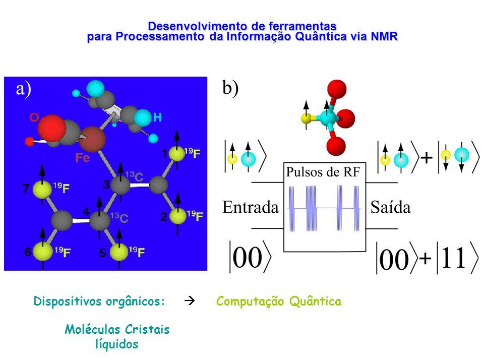 Desenvolvimento de ferramentas para Processamento da Informação Quântica via NMR Dispositivos orgânicos: Computação Quântica Moléculas Cristais líquid
