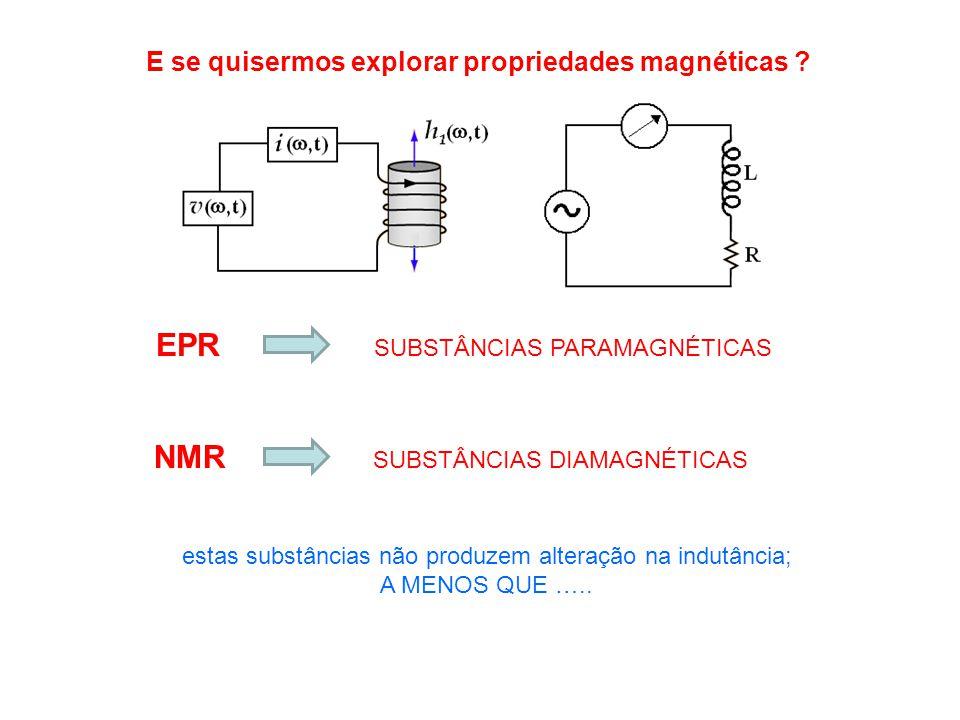 E se quisermos explorar propriedades magnéticas ? SUBSTÂNCIAS PARAMAGNÉTICAS estas substâncias não produzem alteração na indutância; A MENOS QUE ….. E