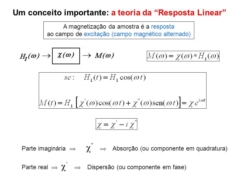 Um conceito importante: a teoria da Resposta Linear A magnetização da amostra é a resposta ao campo de excitação (campo magnético alternado) Parte ima