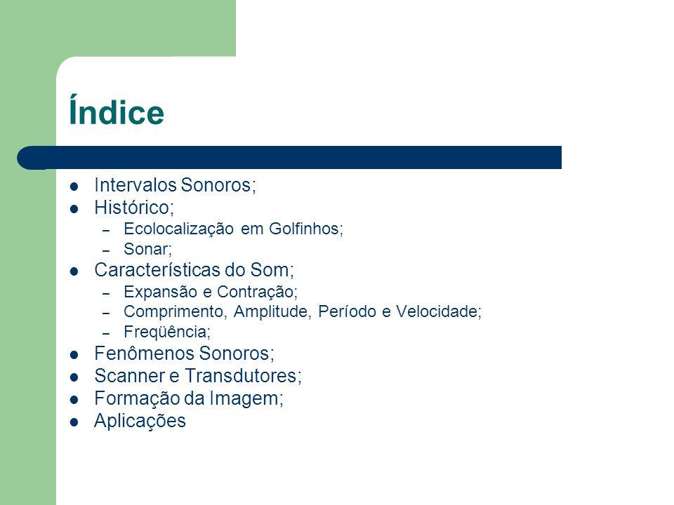 Índice Intervalos Sonoros; Histórico; – Ecolocalização em Golfinhos; – Sonar; Características do Som; – Expansão e Contração; – Comprimento, Amplitude