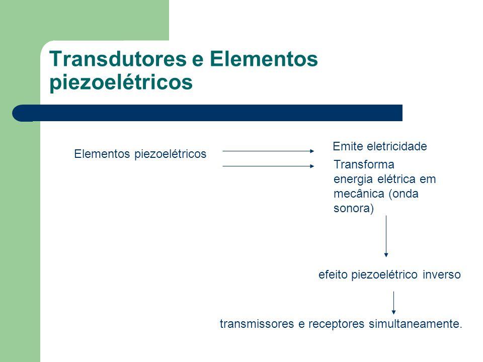 Transdutores e Elementos piezoelétricos Elementos piezoelétricos Emite eletricidade Transforma energia elétrica em mecânica (onda sonora) efeito piezo
