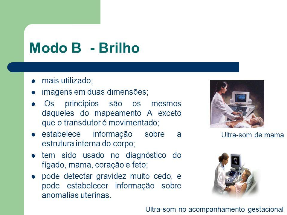 Modo B - Brilho mais utilizado; imagens em duas dimensões; Os princípios são os mesmos daqueles do mapeamento A exceto que o transdutor é movimentado;