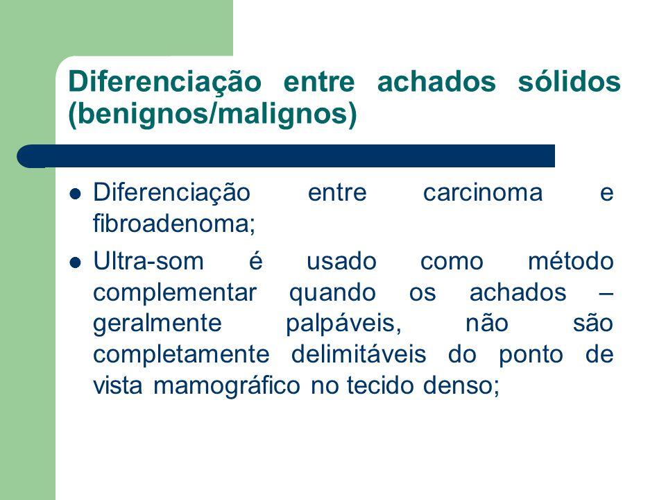 Diferenciação entre achados sólidos (benignos/malignos) Diferenciação entre carcinoma e fibroadenoma; Ultra-som é usado como método complementar quand