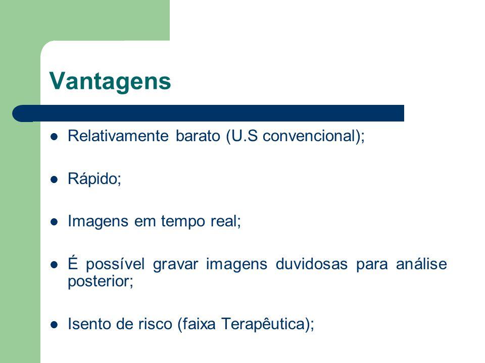Vantagens Relativamente barato (U.S convencional); Rápido; Imagens em tempo real; É possível gravar imagens duvidosas para análise posterior; Isento d