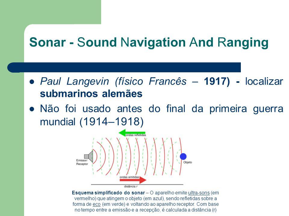 Sonar - Sound Navigation And Ranging Paul Langevin (físico Francês – 1917) - localizar submarinos alemães Não foi usado antes do final da primeira gue