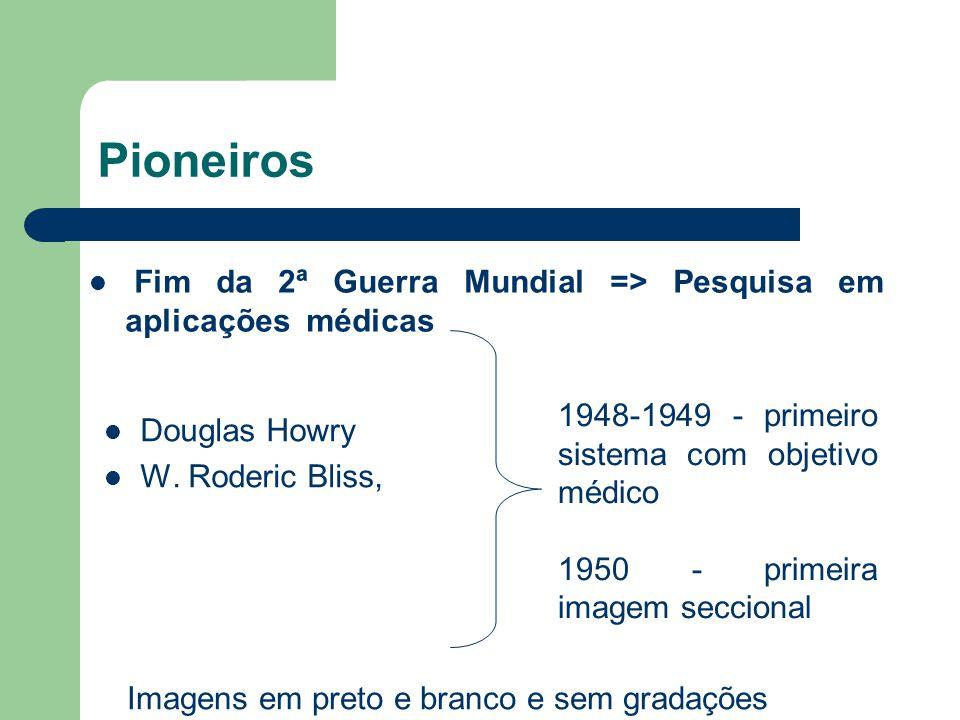 Pioneiros Douglas Howry W. Roderic Bliss, 1948-1949 - primeiro sistema com objetivo médico 1950 - primeira imagem seccional Imagens em preto e branco