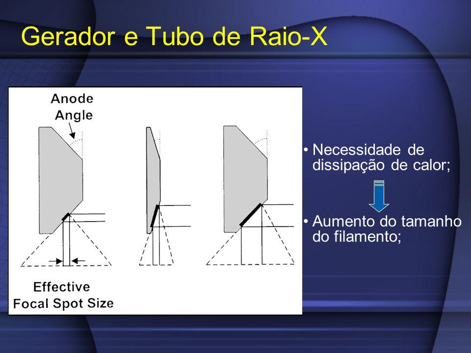 Necessidade de dissipação de calor; Aumento do tamanho do filamento; Gerador e Tubo de Raio-X