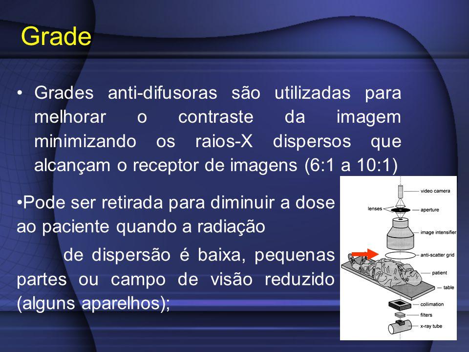 Grades anti-difusoras são utilizadas para melhorar o contraste da imagem minimizando os raios-X dispersos que alcançam o receptor de imagens (6:1 a 10:1) Grade Pode ser retirada para diminuir a dose ao paciente quando a radiação de dispersão é baixa, pequenas partes ou campo de visão reduzido (alguns aparelhos);