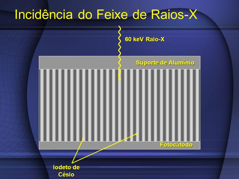 Incidência do Feixe de Raios-X Fotocátodo 60 keV Raio-X Suporte de Alumínio Iodeto de Césio