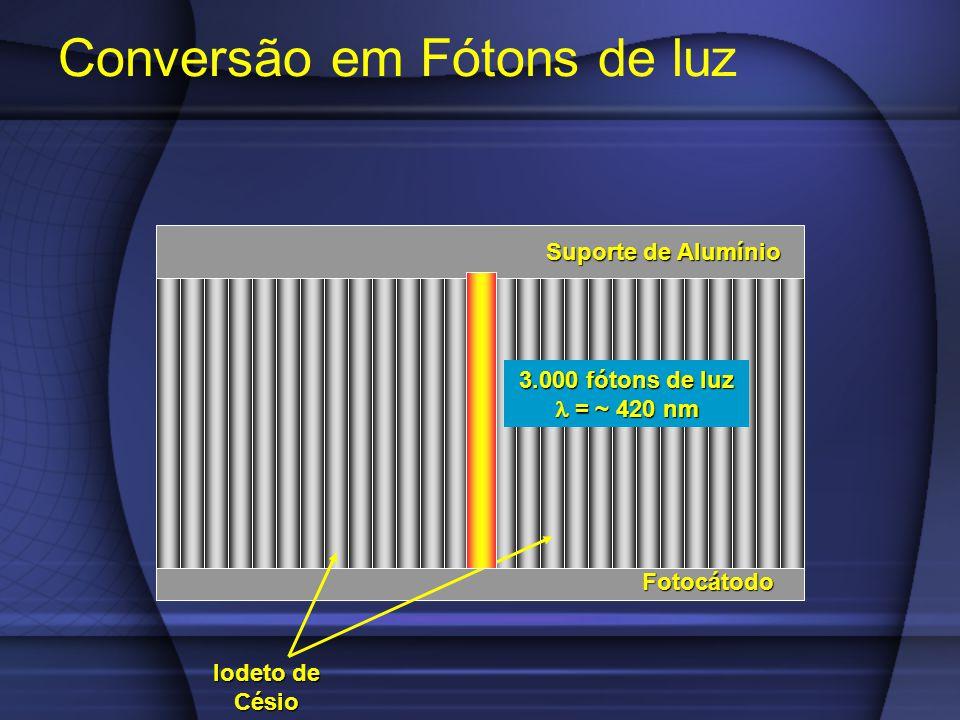 Conversão em Fótons de luz Fotocátodo Suporte de Alumínio Iodeto de Césio 3.000 fótons de luz = ~ 420 nm = ~ 420 nm