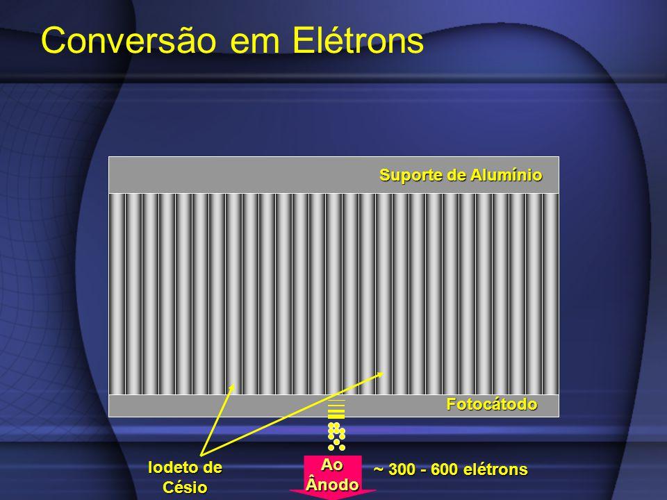 Conversão em Elétrons Fotocátodo Suporte de Alumínio Iodeto de Césio AoÂnodo ~ 300 - 600 elétrons