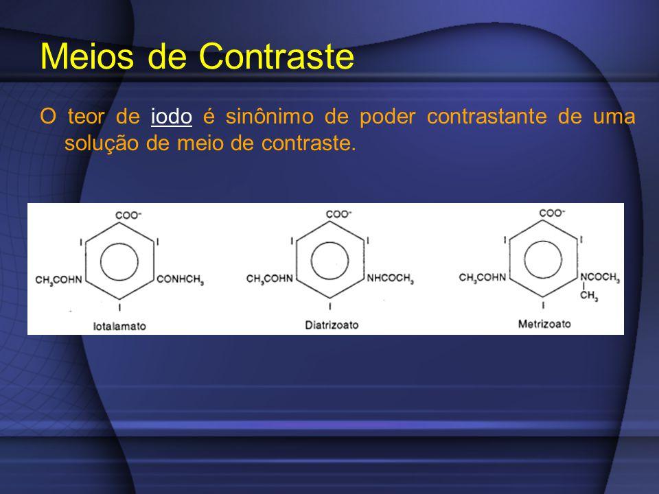 O teor de iodo é sinônimo de poder contrastante de uma solução de meio de contraste. Meios de Contraste