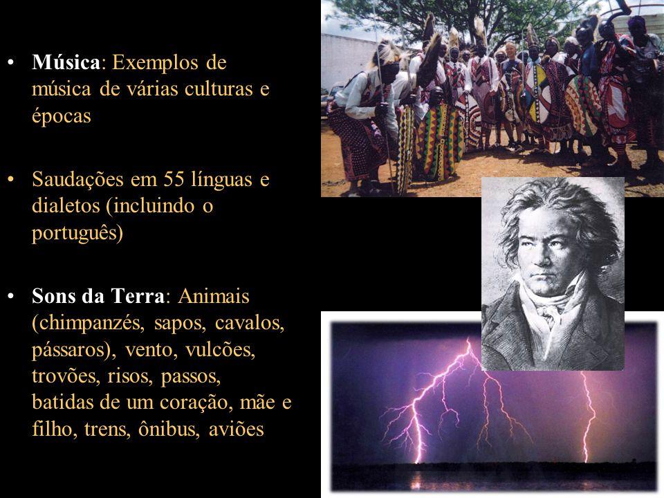 Música: Exemplos de música de várias culturas e épocas Saudações em 55 línguas e dialetos (incluindo o português) Sons da Terra: Animais (chimpanzés,
