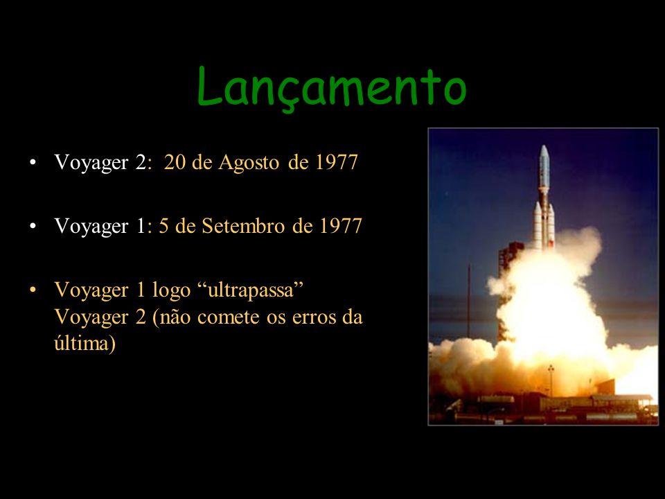 Lançamento Voyager 2: 20 de Agosto de 1977 Voyager 1: 5 de Setembro de 1977 Voyager 1 logo ultrapassa Voyager 2 (não comete os erros da última)
