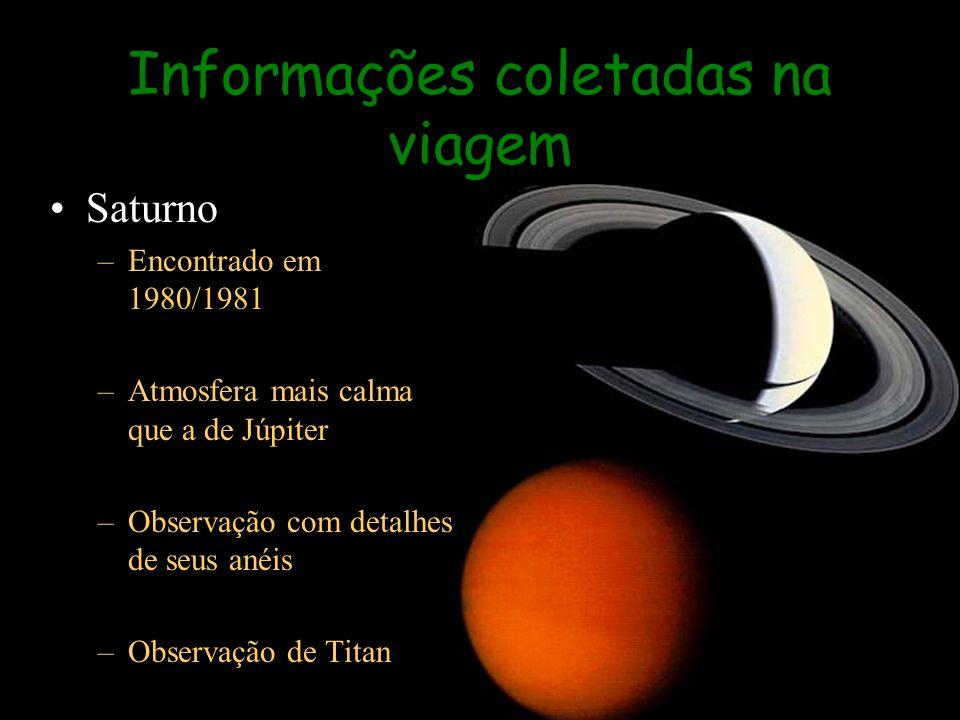 Informações coletadas na viagem Saturno –Encontrado em 1980/1981 –Atmosfera mais calma que a de Júpiter –Observação com detalhes de seus anéis –Observ