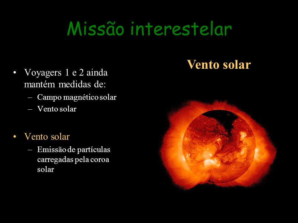 Voyagers 1 e 2 ainda mantém medidas de: –Campo magnético solar –Vento solar Vento solar –Emissão de partículas carregadas pela coroa solar Missão inte