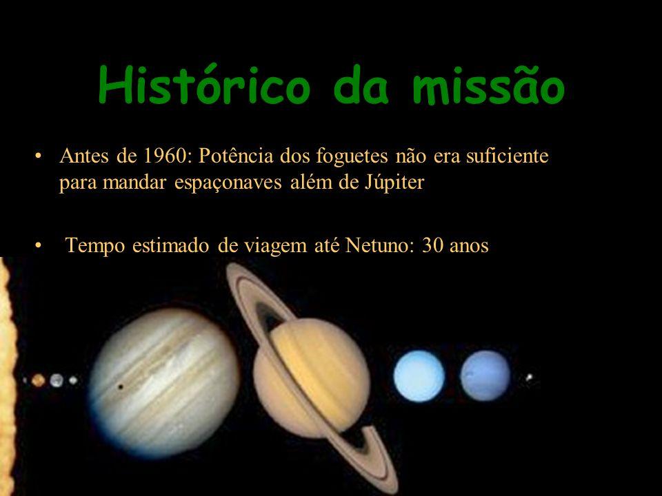 Histórico da missão Antes de 1960: Potência dos foguetes não era suficiente para mandar espaçonaves além de Júpiter Tempo estimado de viagem até Netun