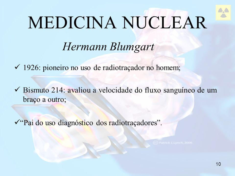 10 1926: pioneiro no uso de radiotraçador no homem; Bismuto 214: avaliou a velocidade do fluxo sanguíneo de um braço a outro; MEDICINA NUCLEAR Hermann