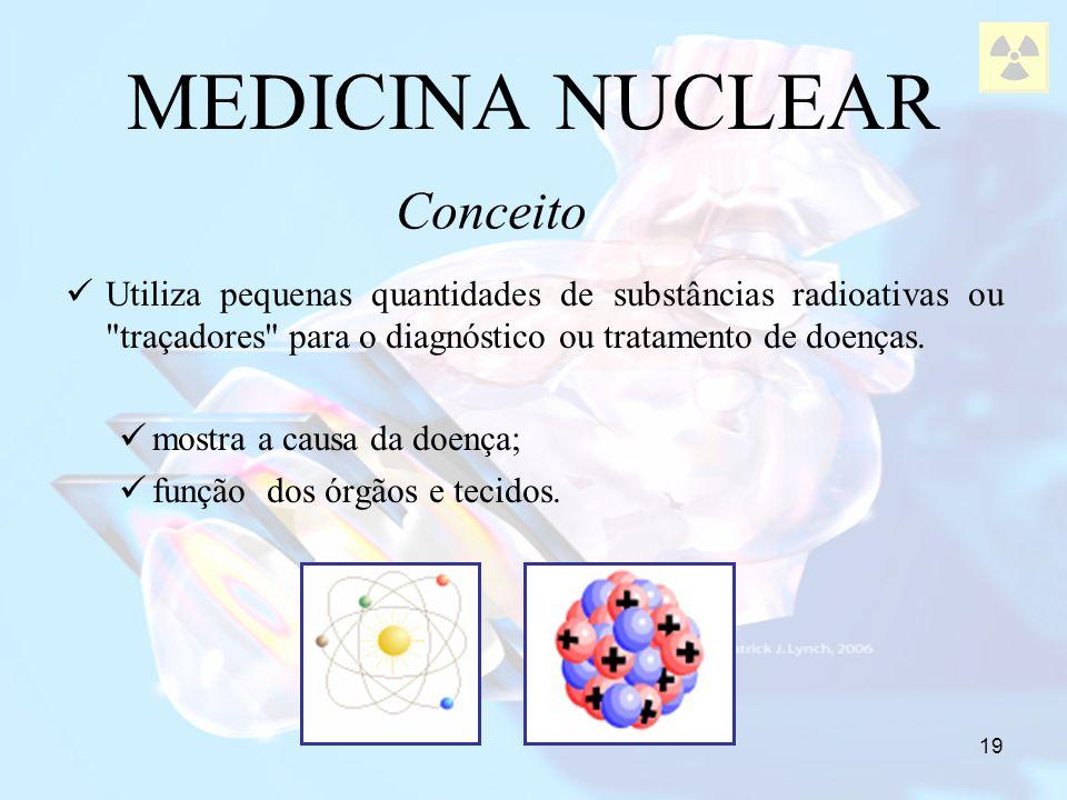 19 MEDICINA NUCLEAR Utiliza pequenas quantidades de substâncias radioativas ou