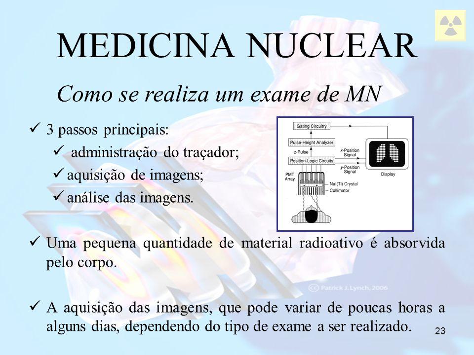 23 MEDICINA NUCLEAR 3 passos principais: administração do traçador; aquisição de imagens; análise das imagens. Uma pequena quantidade de material radi