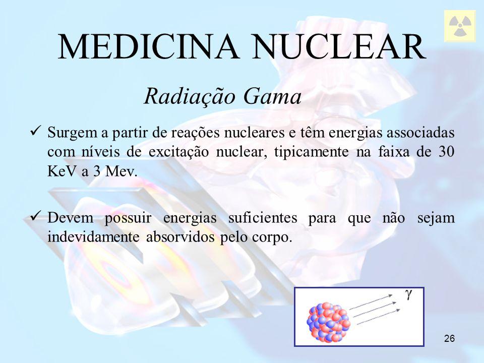 26 MEDICINA NUCLEAR Surgem a partir de reações nucleares e têm energias associadas com níveis de excitação nuclear, tipicamente na faixa de 30 KeV a 3
