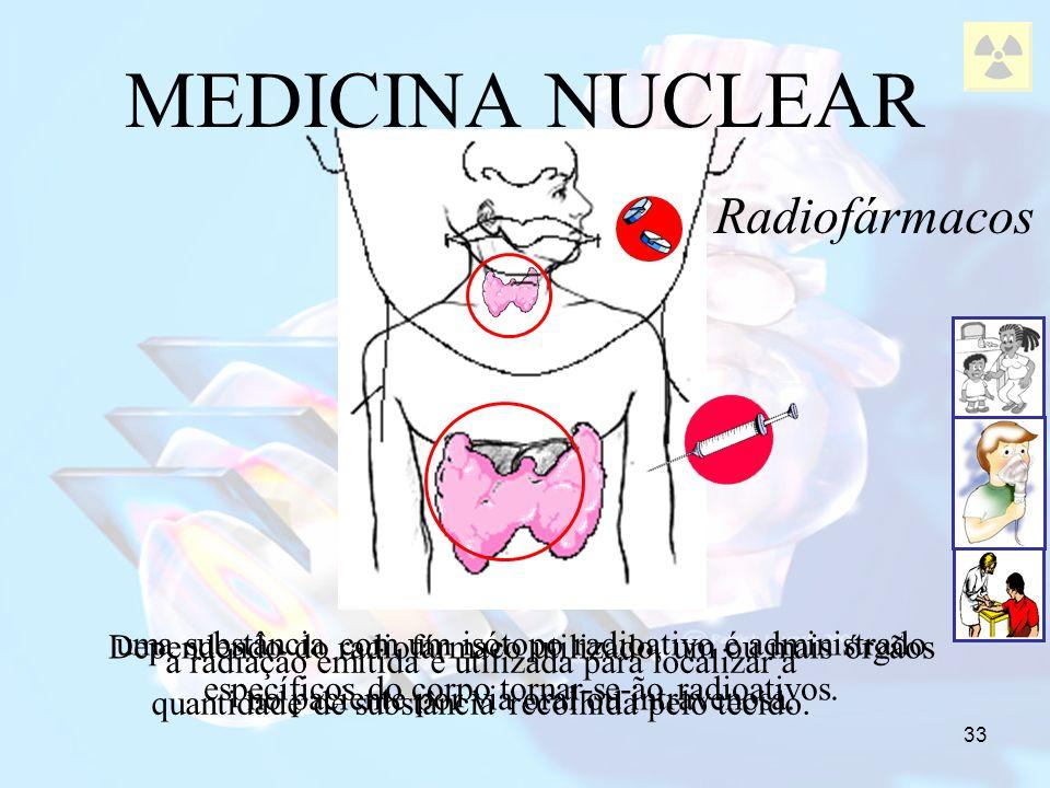 33 uma substância com um isótopo radioativo é administrado no paciente por via oral ou intravenosa. Dependendo do radiofármaco utilizado, um ou mais ó