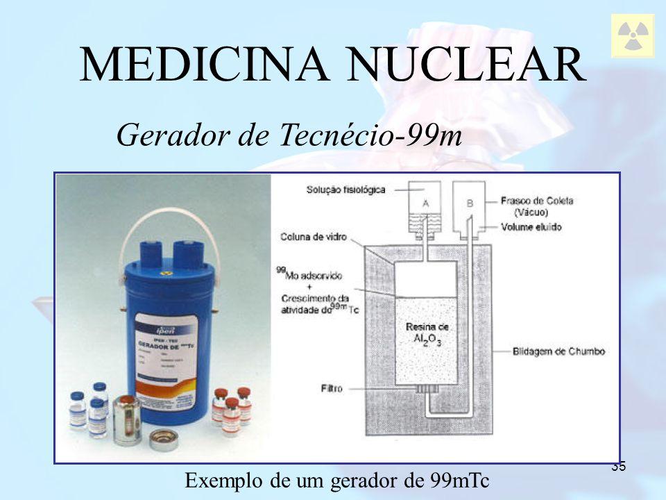 35 Gerador de Tecnécio-99m MEDICINA NUCLEAR Exemplo de um gerador de 99mTc