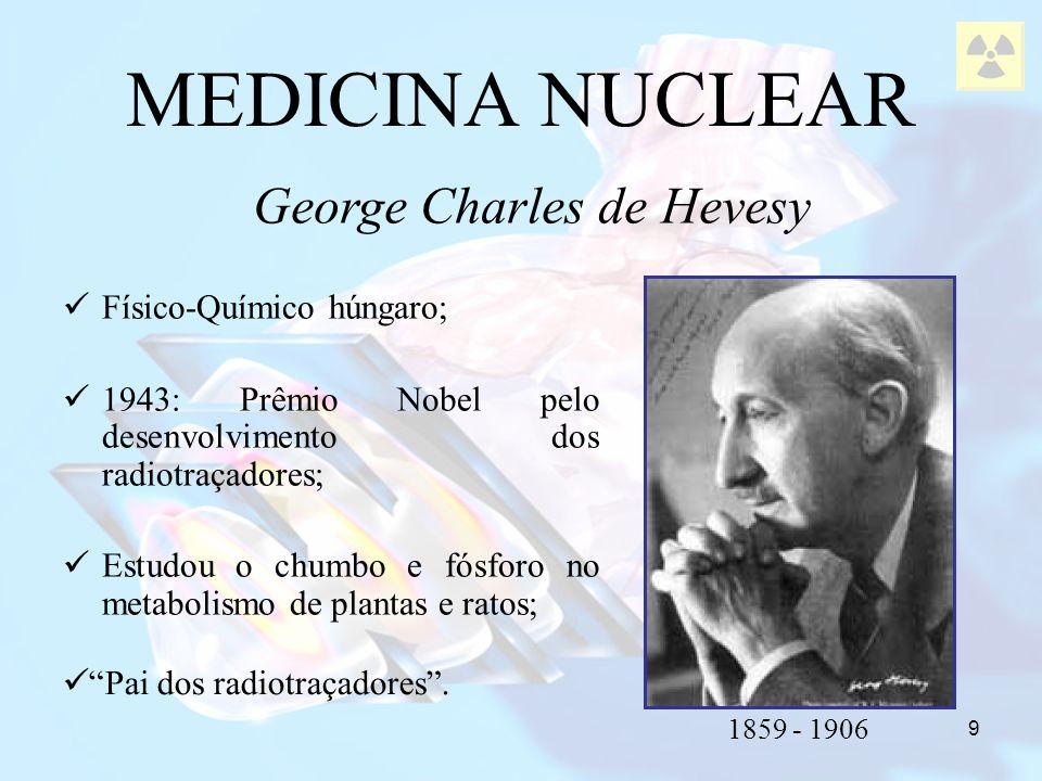 10 1926: pioneiro no uso de radiotraçador no homem; Bismuto 214: avaliou a velocidade do fluxo sanguíneo de um braço a outro; MEDICINA NUCLEAR Hermann Blumgart Pai do uso diagnóstico dos radiotraçadores.