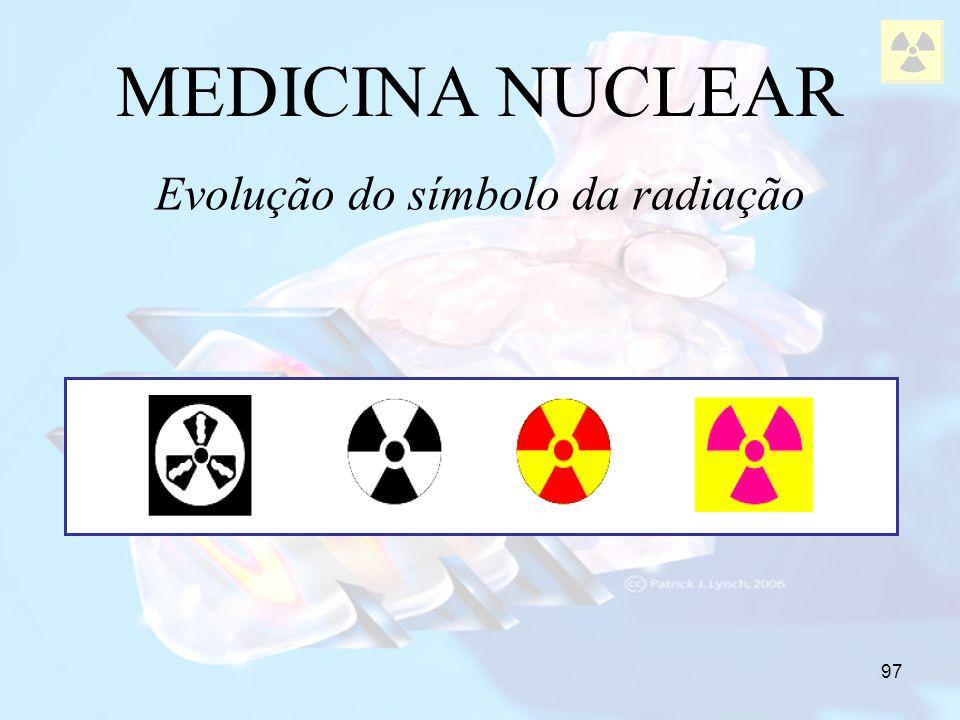97 MEDICINA NUCLEAR Evolução do símbolo da radiação