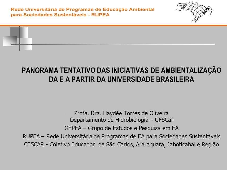 PANORAMA TENTATIVO DAS INICIATIVAS DE AMBIENTALIZAÇÃO DA E A PARTIR DA UNIVERSIDADE BRASILEIRA Profa. Dra. Haydée Torres de Oliveira Departamento de H