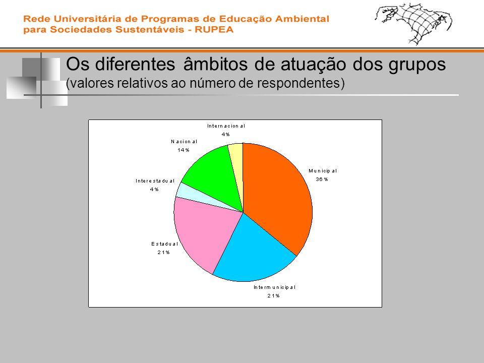 Os diferentes âmbitos de atuação dos grupos (valores relativos ao número de respondentes)