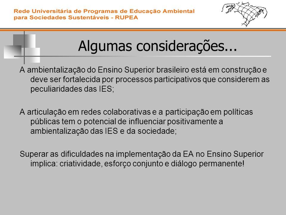Algumas considerações... A ambientalização do Ensino Superior brasileiro está em construção e deve ser fortalecida por processos participativos que co