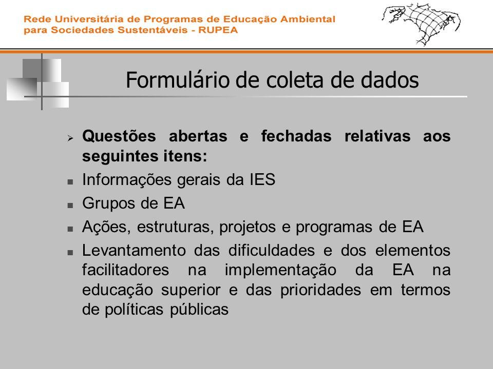 Formulário de coleta de dados Questões abertas e fechadas relativas aos seguintes itens: Informações gerais da IES Grupos de EA Ações, estruturas, projetos e programas de EA Levantamento das dificuldades e dos elementos facilitadores na implementação da EA na educação superior e das prioridades em termos de políticas públicas
