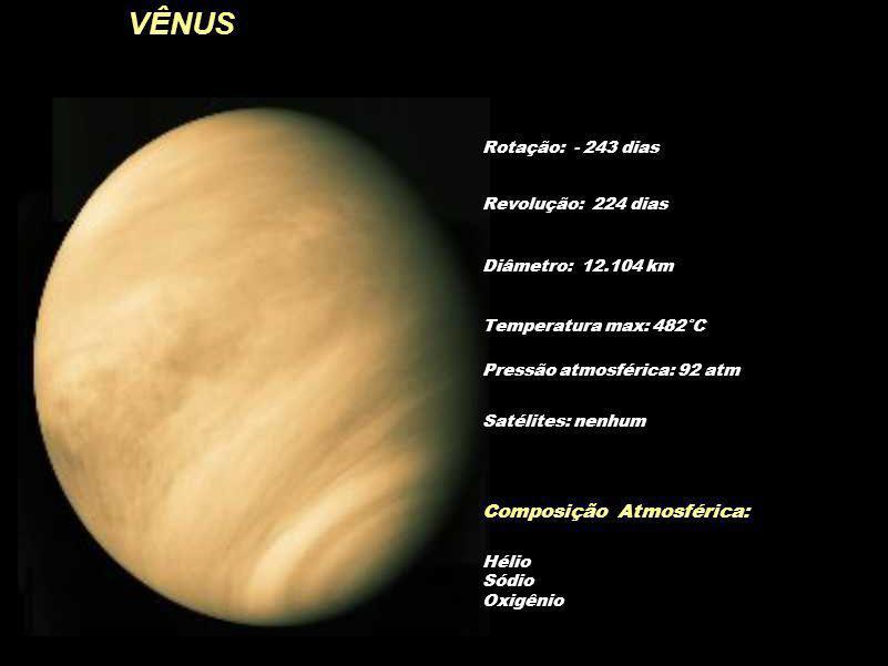 VÊNUS Rotação: - 243 dias Diâmetro: 12.104 km Temperatura max: 482°C Pressão atmosférica: 92 atm Composição Atmosférica: Hélio Sódio Oxigênio Revoluçã