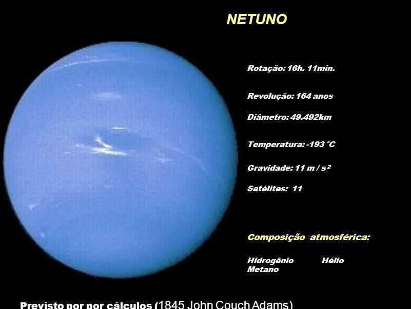 NETUNO Rotação: 16h. 11min. Diâmetro: 49.492km Temperatura: -193 °C Gravidade: 11 m / s 2 Revolução: 164 anos Composição atmosférica: Hidrogênio Hélio
