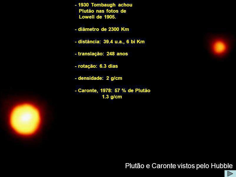 Plutão e Caronte vistos pelo Hubble - 1930 Tombaugh achou Plutão nas fotos de Lowell de 1905. - diâmetro de 2300 Km - distância: 39.4 u.a., 6 bi Km -